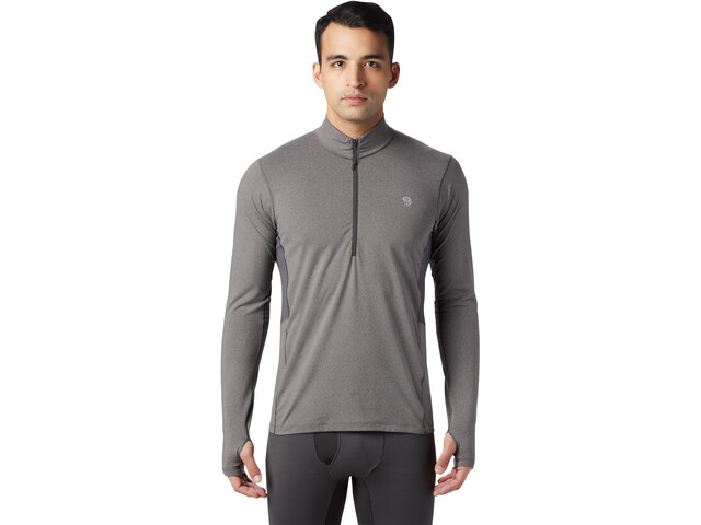 Mountain Hardwear Ghee T-shirt Manches longues 1/2 Zip Homme, heather shark